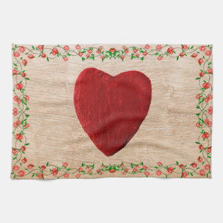 Rosenrahmen mit Herz Geschirrtuch