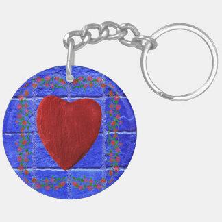 Rosenrahmen mit Herz Schlüsselanhänger