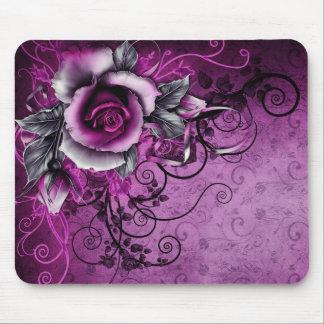 Rosenvektorstrudelkunst des Vintagen Grunge lila Mousepads