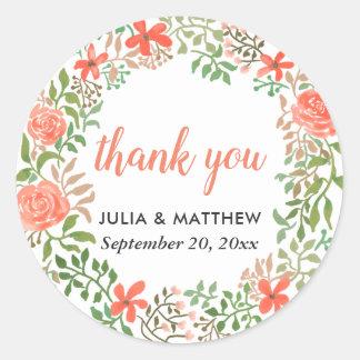 RosenWatercolorblumenWreath danken Ihnen Hochzeit Runder Aufkleber