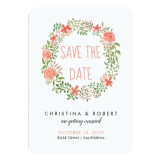 RosenWatercolorblumenWreath | Save the Date Karte