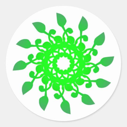 Rosette rose grün green runder aufkleber