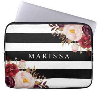 Rosewatercolor-Schwarz-weiße Streifen-mit Laptopschutzhülle
