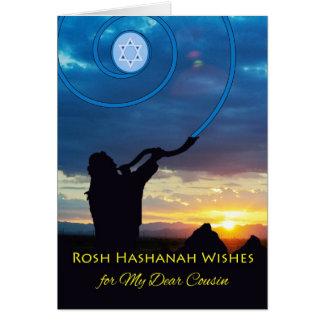 Rosh Hashanah für Cousin, Shofar-Horn und Himmel Karte