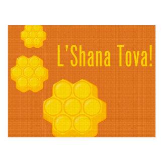 rosh hashanah l'shana tova Bienenwaben Postkarte