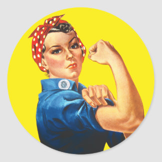 Rosie der Nieteneinschläger, können wir ihn tun! Runder Aufkleber