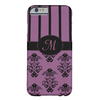 Rosiges rosa u. schwarzes Barock Stripes Monogramm Barely There iPhone 6 Hülle