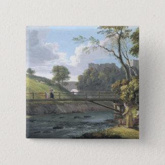 Roslin Schloss, Midlothian (w/c und Gouache auf Quadratischer Button 5,1 Cm