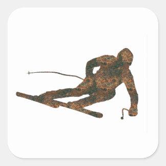 Rost Ski-Aufkleber Quadratischer Aufkleber