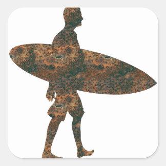 Rost Surfer-Aufkleber Quadratischer Aufkleber