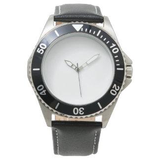 Rostfreie schwarze der Lederband-Uhr der Männer Handuhr