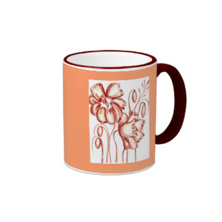 Rostige farbige Blumen-Tasse Ringer Tasse