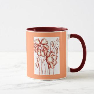 Rostige farbige Blumen-Tasse Tasse