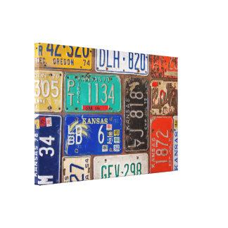rostige Retro Kfz-Kennzeichencollage Leinwanddruck