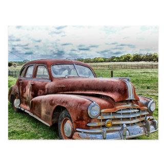 Rostiges altes klassisches Auto-Vintages Automobil Postkarte