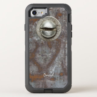 Rostiges Metall Steampunk mit Namenscoolem OtterBox Defender iPhone 8/7 Hülle
