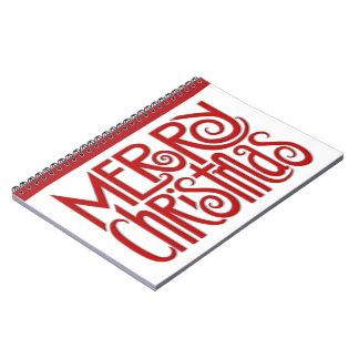 Rot 2 der frohen Weihnachten Notizbuch Spiral Notizblock