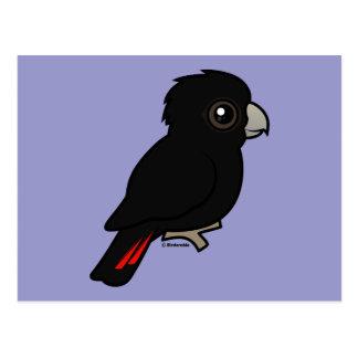 Rot-angebundener schwarzer Cockatoo Postkarte