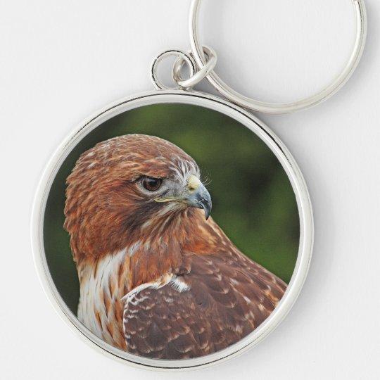 Rot-angebundenes Falke keychain Silberfarbener Runder Schlüsselanhänger