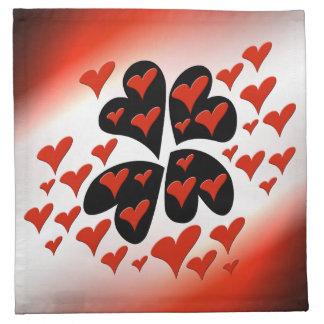 Rot auf schwarzen Herzen Stoffserviette