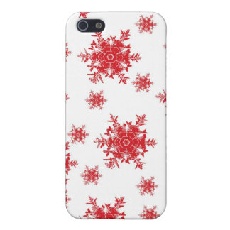 Rot auf weißem Schneeflocke-Entwurf iPhone 5 Hülle