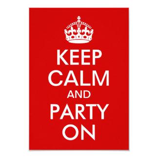 Rot behalten Ruhe und Party auf Geburtstag Karte