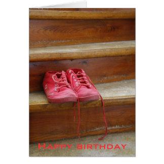 Rot beschuht Geburtstagskarten Grußkarte