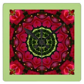 Rot blüht Natur, Blume-Mandala Quadratische Wanduhr