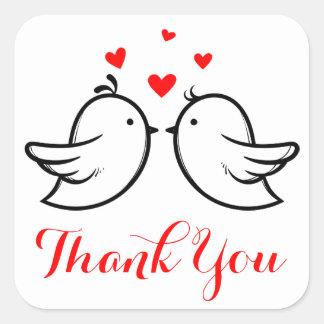 Rot danken Ihnen die schwarzen Lovebirds, die Quadratischer Aufkleber