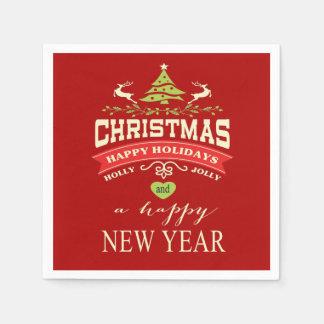 Rot der WeihnachtsVintages Rotwild-Wort-Kunst | Papierserviette