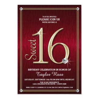 Rot des Bonbon-16/Goldmetallische Blick-Party 12,7 X 17,8 Cm Einladungskarte