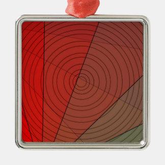 Rot-Dreieck-Kreis-Entwurf Silbernes Ornament