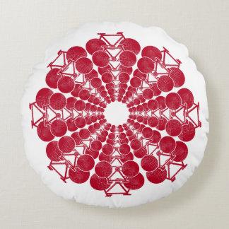 Rot fährt Mandala auf Weiß rad Rundes Kissen