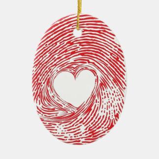 Rot-Fingerabdruck-mitherz Keramik Ornament