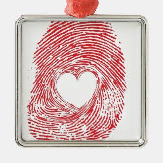Rot-Fingerabdruck-mitherz Silbernes Ornament
