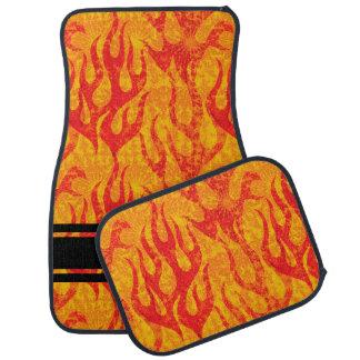 Rot flammt Monogramm-Set von 4 Autofußmatte