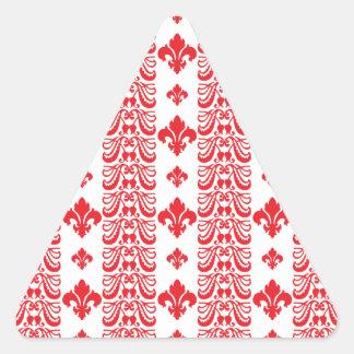 Rot Fleur Streifen-1 Dreiecks-Aufkleber