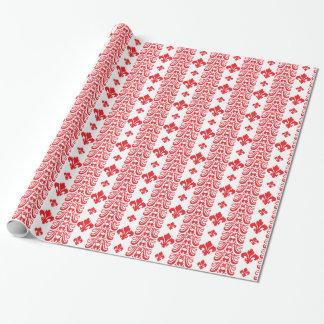 Rot Fleur Streifen-1 Geschenkpapierrolle