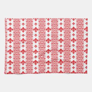 Rot Fleur Streifen-1 Handtuch