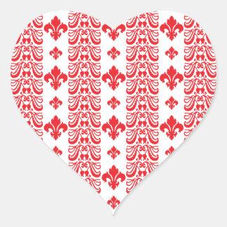 Rot Fleur Streifen-1 Herz-Aufkleber