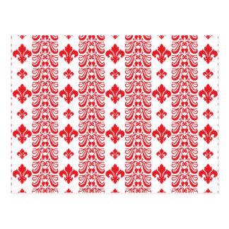 Rot Fleur Streifen-1 Postkarten