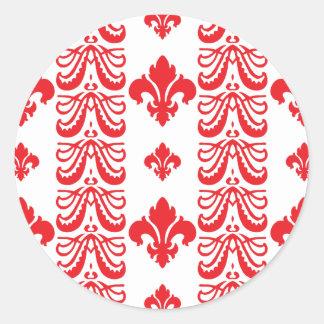 Rot Fleur Streifen-1 Runder Aufkleber