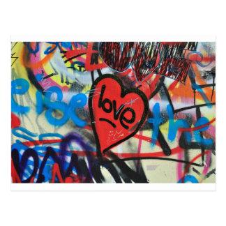 Rot gemalter Herz-Liebe Graffiti Postkarte