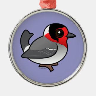 Rot-gesichtiger Trällerer Silbernes Ornament