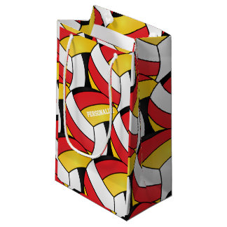 Rot-, Gold-, weiße und SchwarzeVolleybälle Kleine Geschenktüte