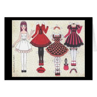 Rot-Haarige Lolita Papierpuppen-leere Karte