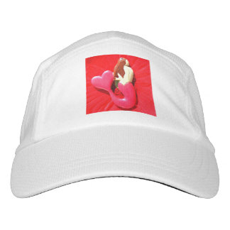 Rot Herz-angebundene Meerjungfrau Headsweats Kappe
