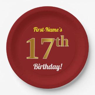 Rot, Imitat-Gold17. Geburtstag + Individueller Pappteller