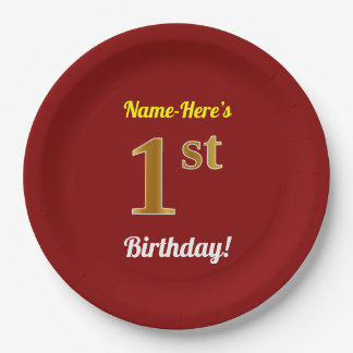 Rot, Imitat-Gold1. Geburtstag + Individueller Name Pappteller