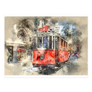 Rot-Laufkatze Istanbuls die Türkei Postkarte